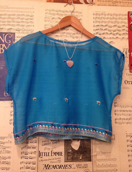 Handmade Upcycled Blue Sari Crop