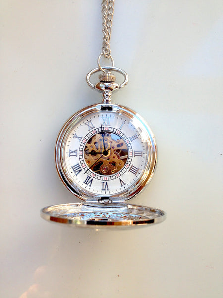 SteamPunk  Silver Mechanical Pocket Watch