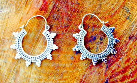 New collection Tribal hoop earring silver