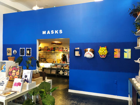 A picture of the Rare Device Gallery featuring artwork from Masks