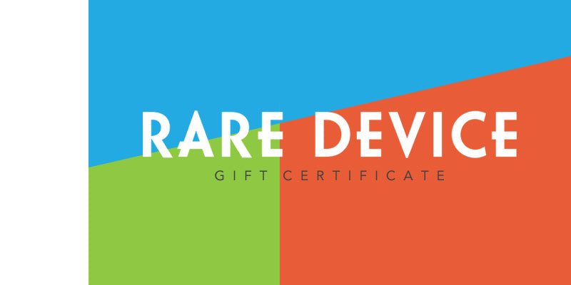 A graphic with a Rare Device log and the words gift certificate
