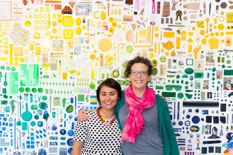 Lisa Solomon and Christine Buckton Tillman in front of their freshly finished wall!