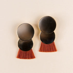 Solar Eclipse Earrings - Orange Madder Root