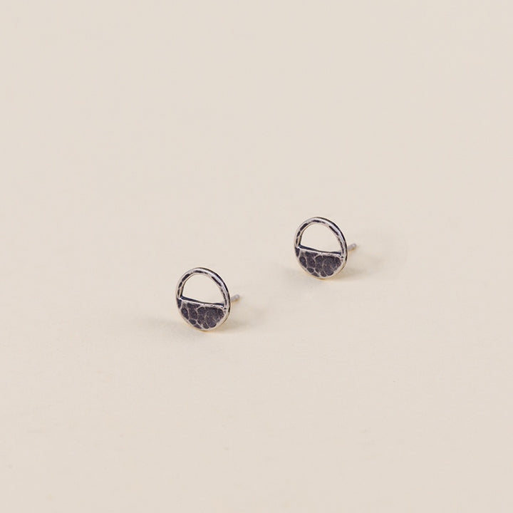 Half Loop Stud Earrings - Silver