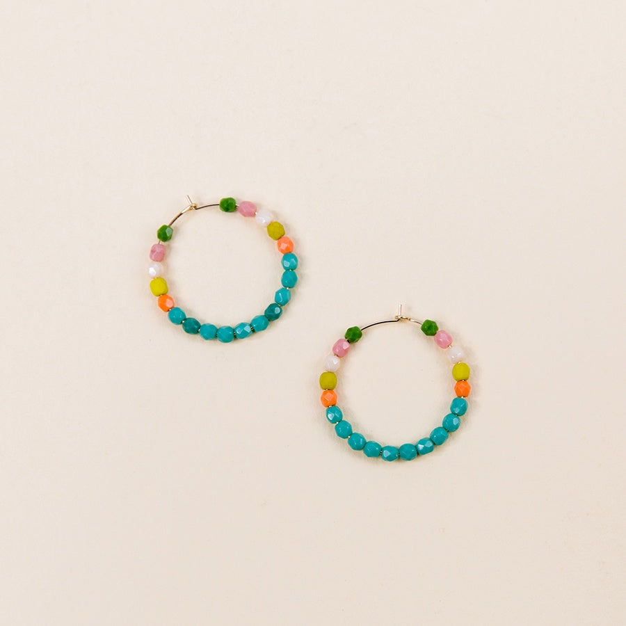 Multi-Color Gold Filled Hoops - No. 2 Turquoise