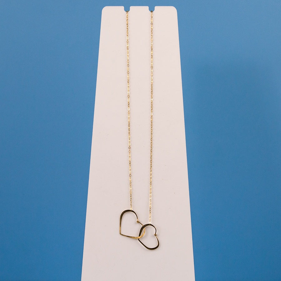 2 Hearts Necklace - Gold