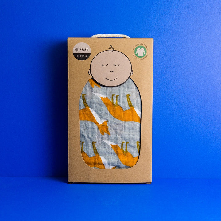 Organic Swaddle - Orange Fox