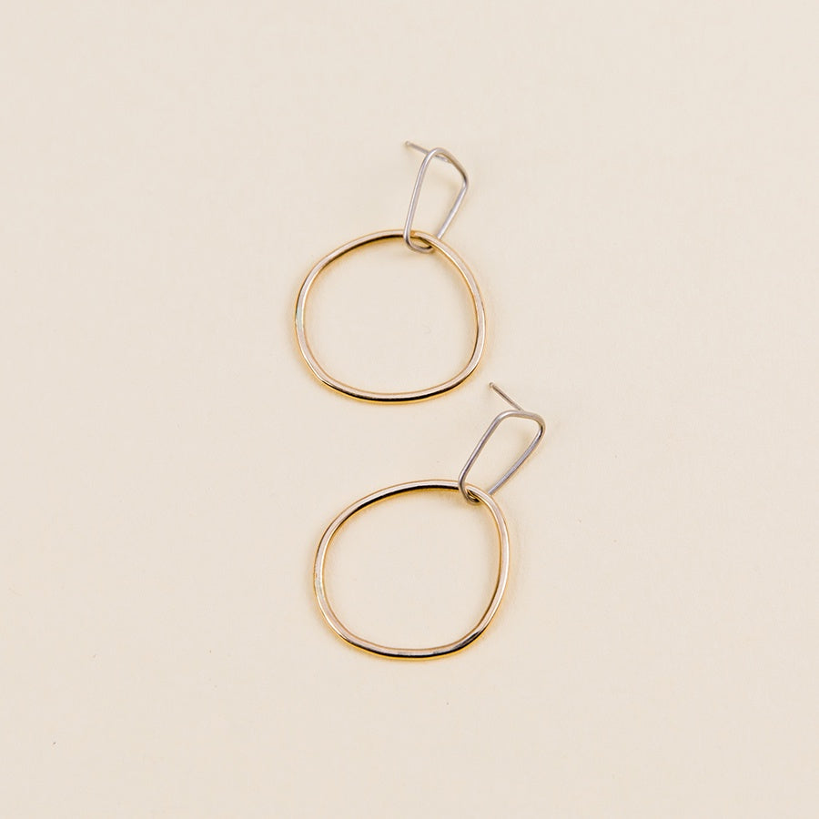 Interlocking Rectangle and Square Post Earrings - Silver and Yellow Gold