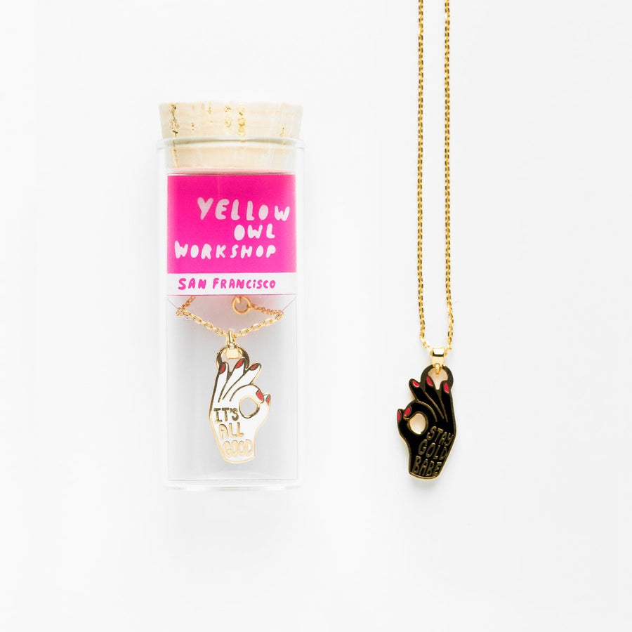All Good / Stay Gold Two-Sided Pendant Necklace