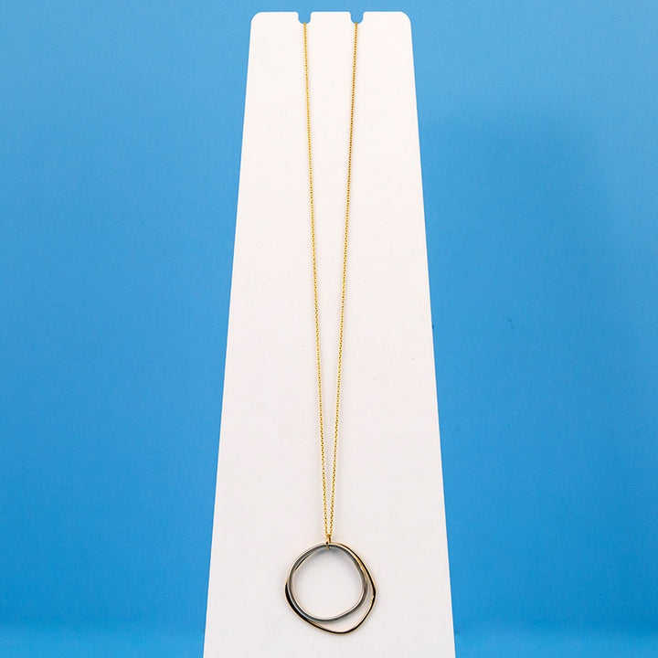 Long Double Square Necklace - Silver and Yellow Gold on Yellow Gold Chain