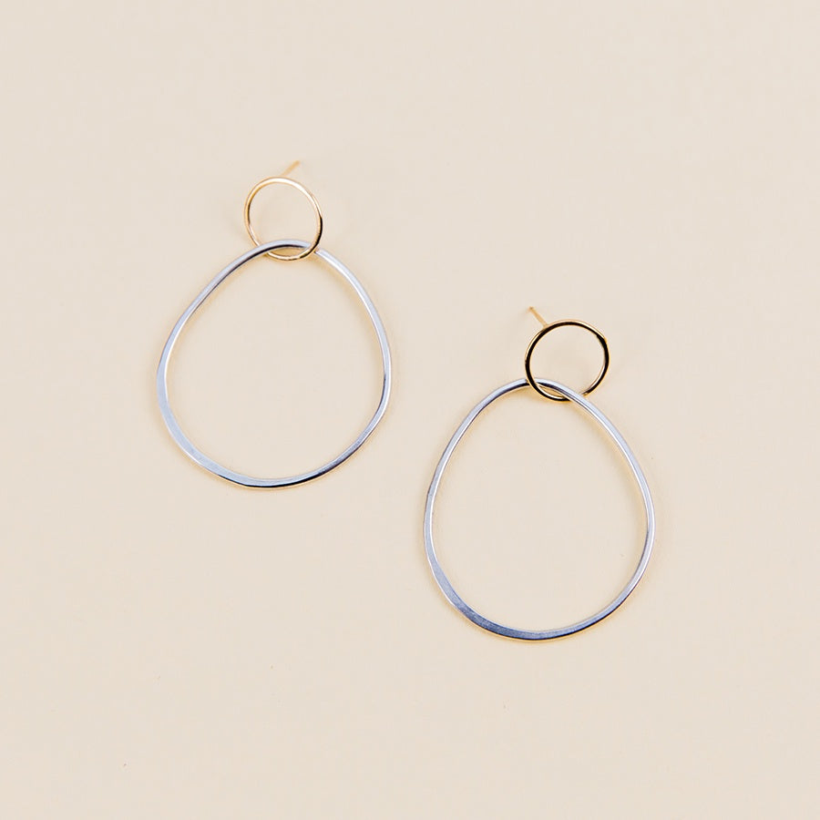 Interlocking Circle & Pear Post Earrings - Silver & Yellow Gold