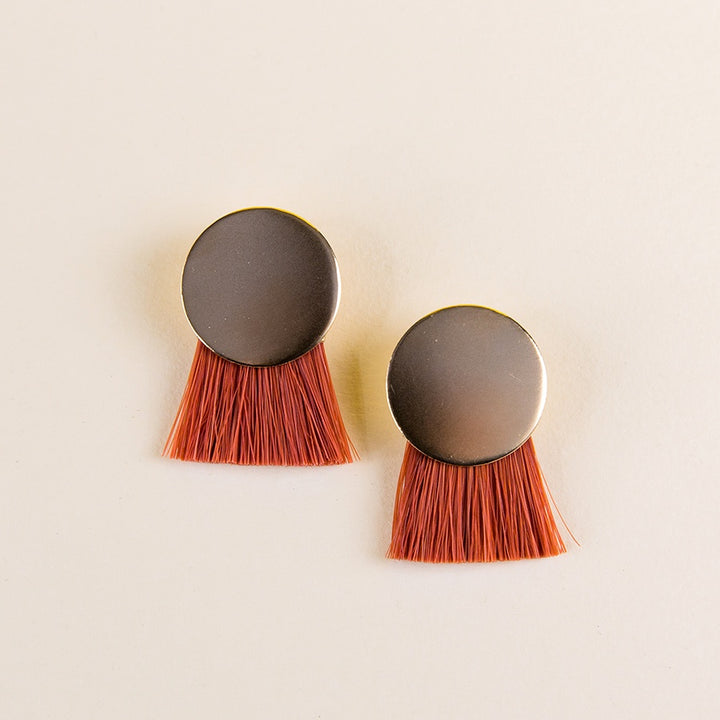 Iris Earrings - Gold Plated - Orange Madder Root