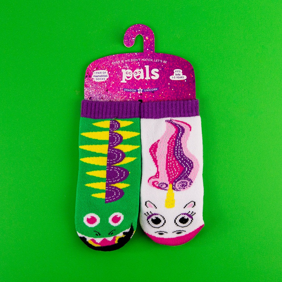 A Pair of Pals Socks 1-3 Years - Dragon & Unicorn