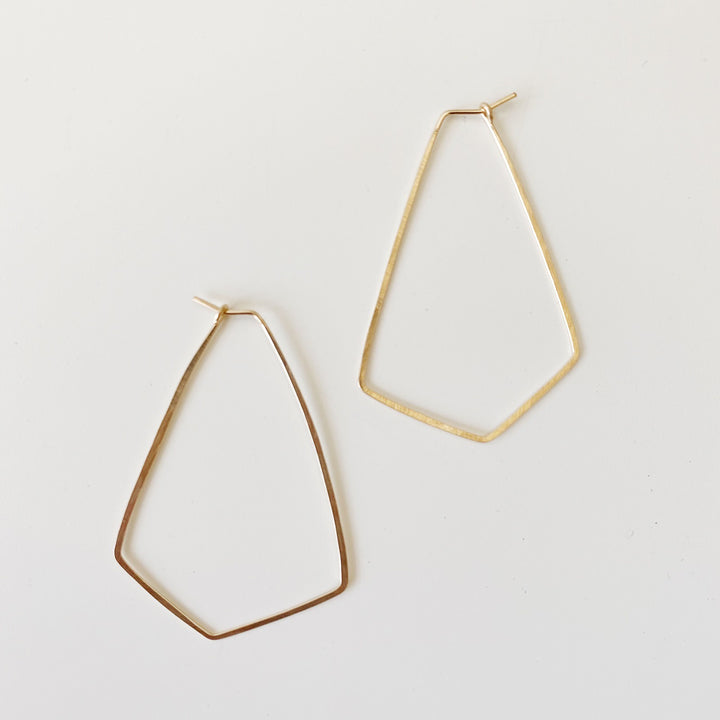 Large Diamond Hoops - Gold