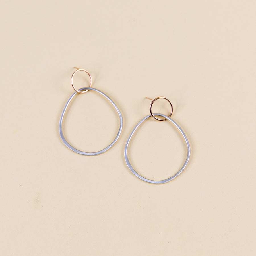 Interlocking Circle & Pear Post Earrings - Silver & Rose Gold