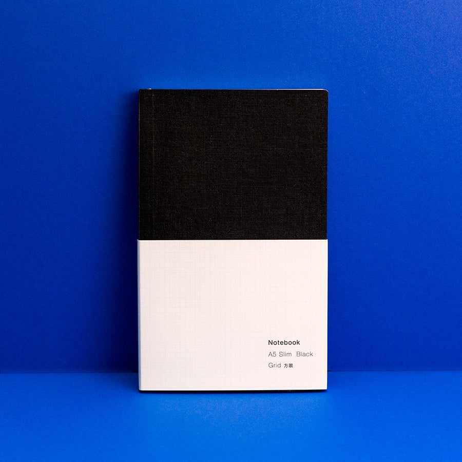 A5 Slim Black Notebook - Grid