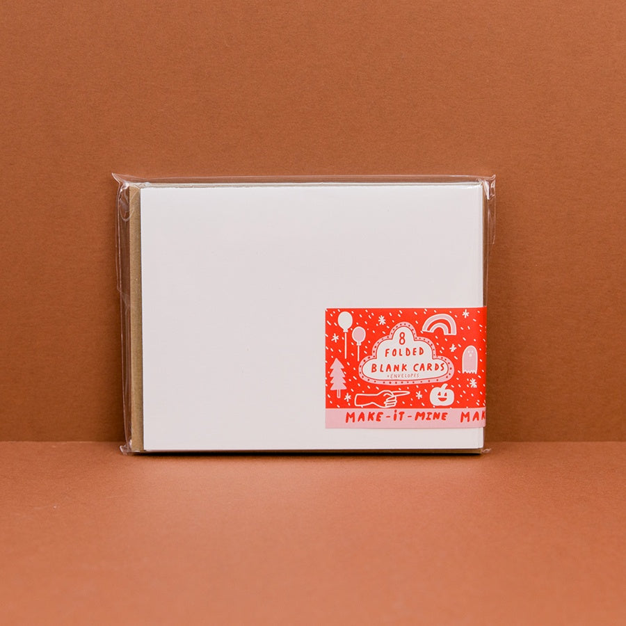 Blank Stampables - White Folded Cards with Kraft Envelopes