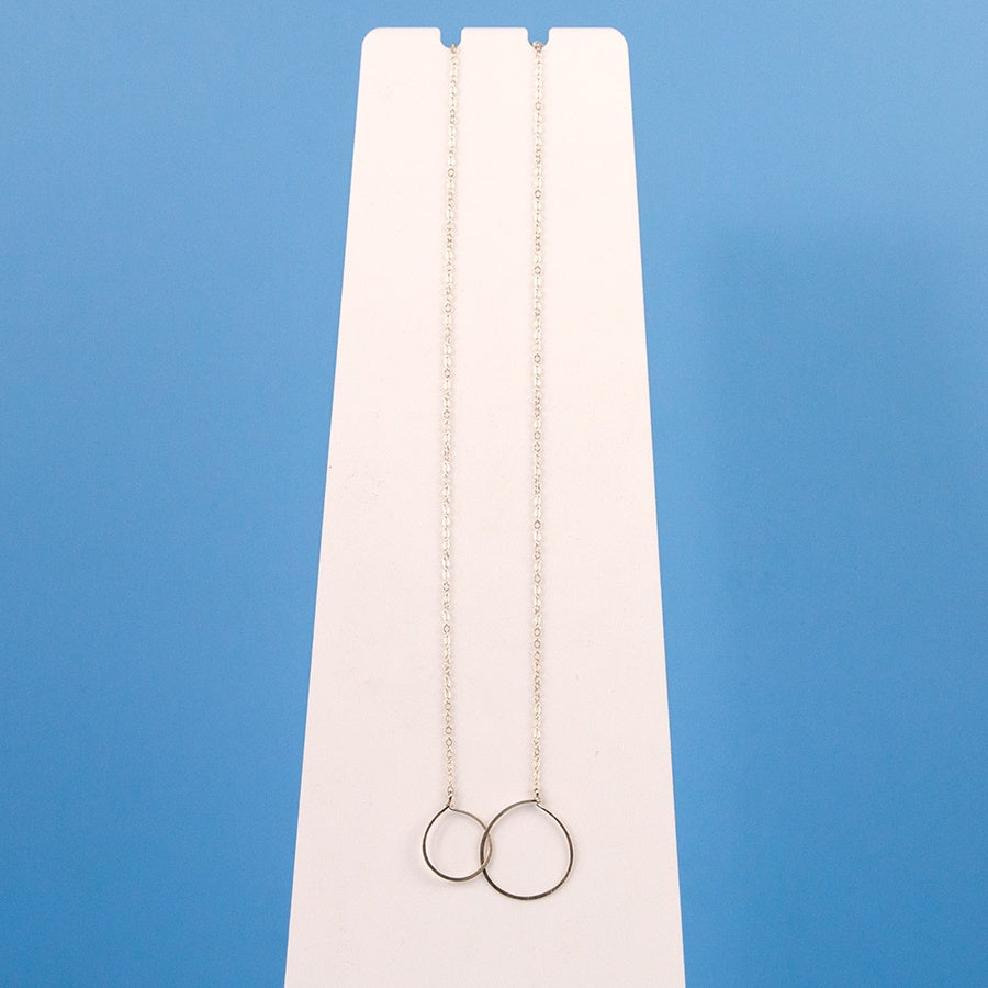 2 Round Hoops Necklace - Silver