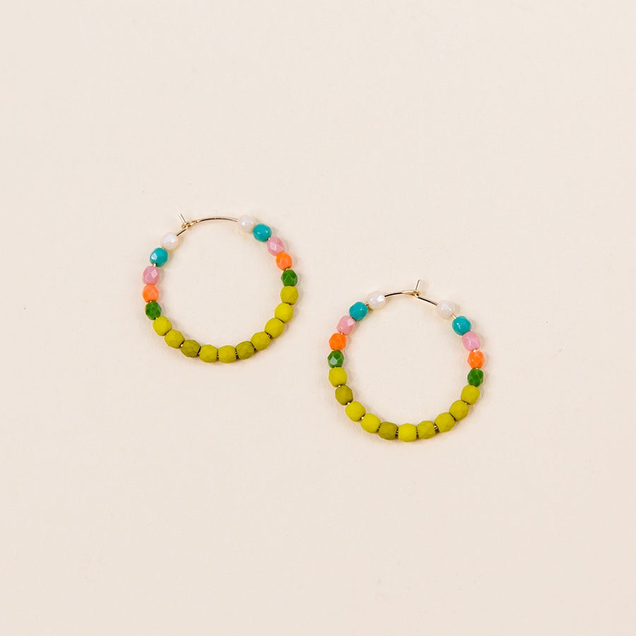 Multi-Color Gold Filled Hoops - No. 1 Chartreuse