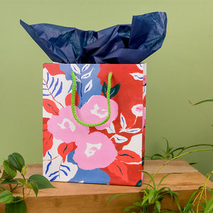 Small Gift Bag - Ruby Red Flowers