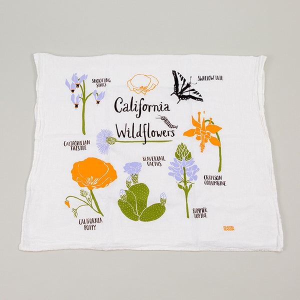 California Wild Flowers Tea Towel