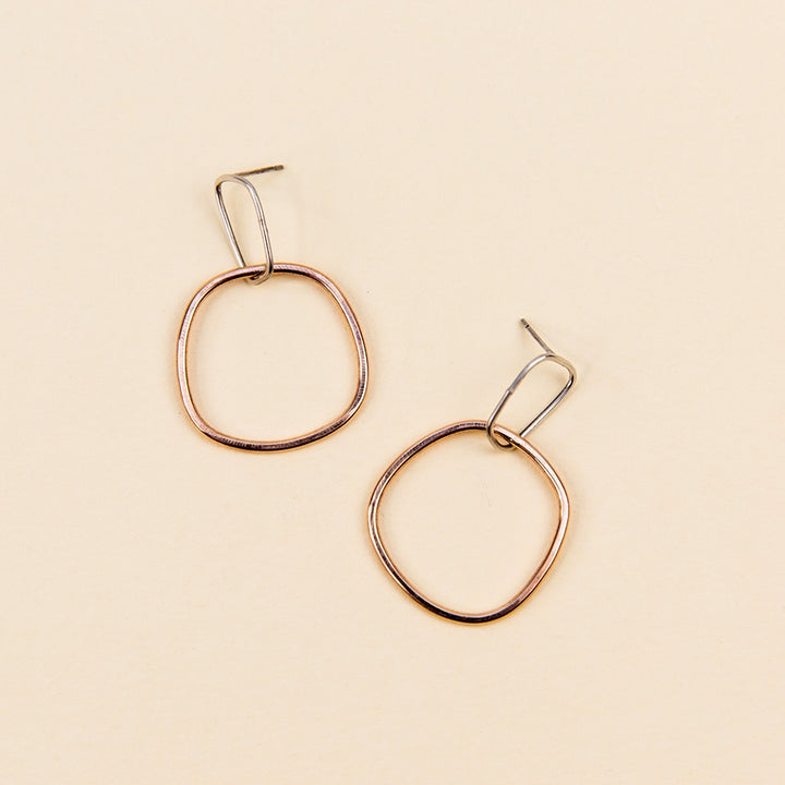 Interlocking Rectangle and Square Post Earrings - Silver and Rose Gold