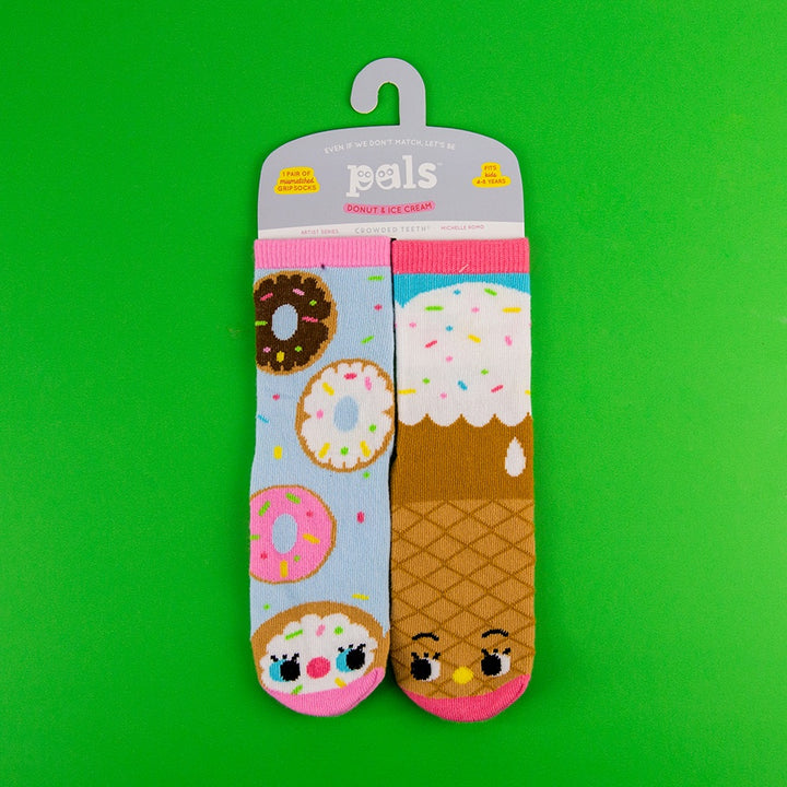 A Pair of Pals Socks 4-8 Years - Donut & Ice Cream