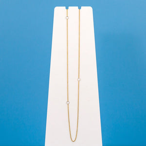 Delicate Chain Necklace - Yellow Gold Chain with Silver Squares