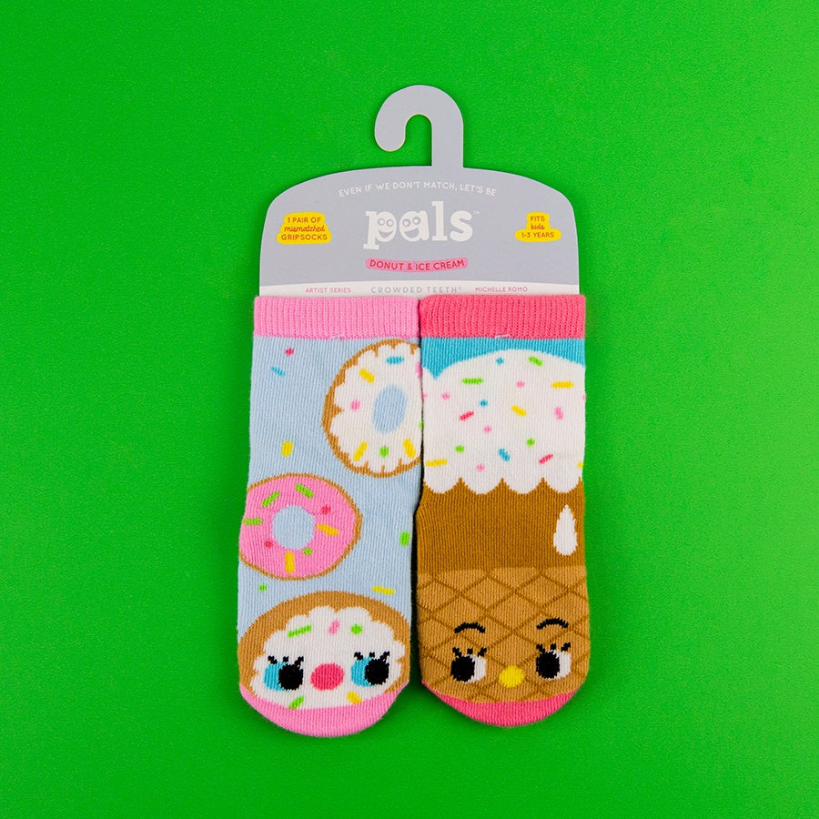 A Pair of Pals Socks 1-3 Years - Donut & Ice Cream