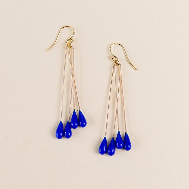 Long Lustre Earrings - Blue
