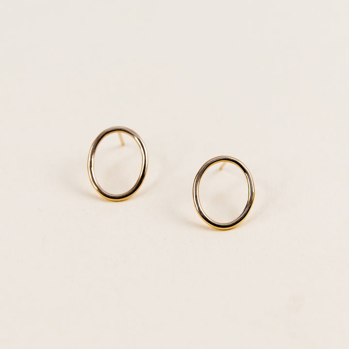 Large Oval Studs - Yellow Gold