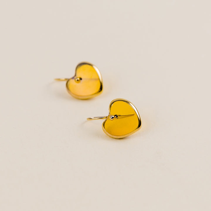 Sweetheart Deco Earrings - Translucent Amber