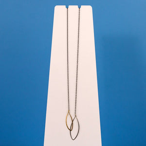 Gold and Silver Hoops Necklace - Oxidized Silver Chain