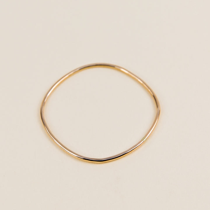 Thick Square Bangle Bracelet - Yellow Gold