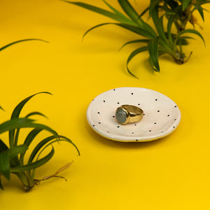 Ceramic Ring Dish - Dot Grid