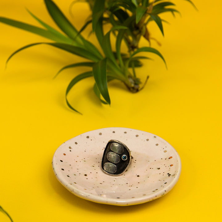 Ceramic Ring Dish - Pale Pink Speckled