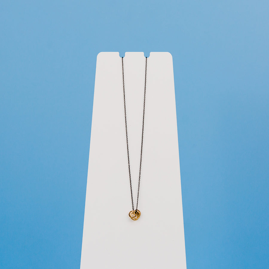 Cinq Necklace - Black and Yellow Gold