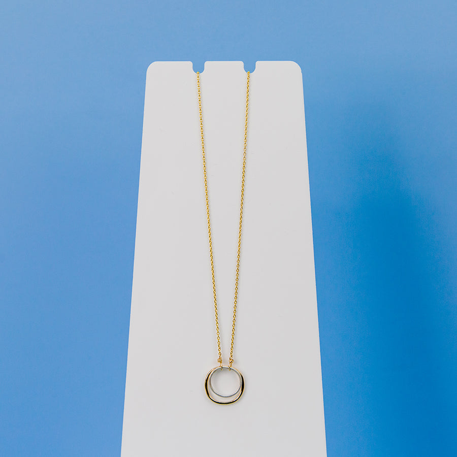Double Square Necklace - Yellow Gold Chain