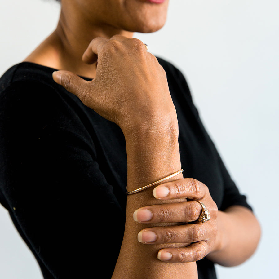 Gibbous Cuff Bracelet - Thick Gold (on model)