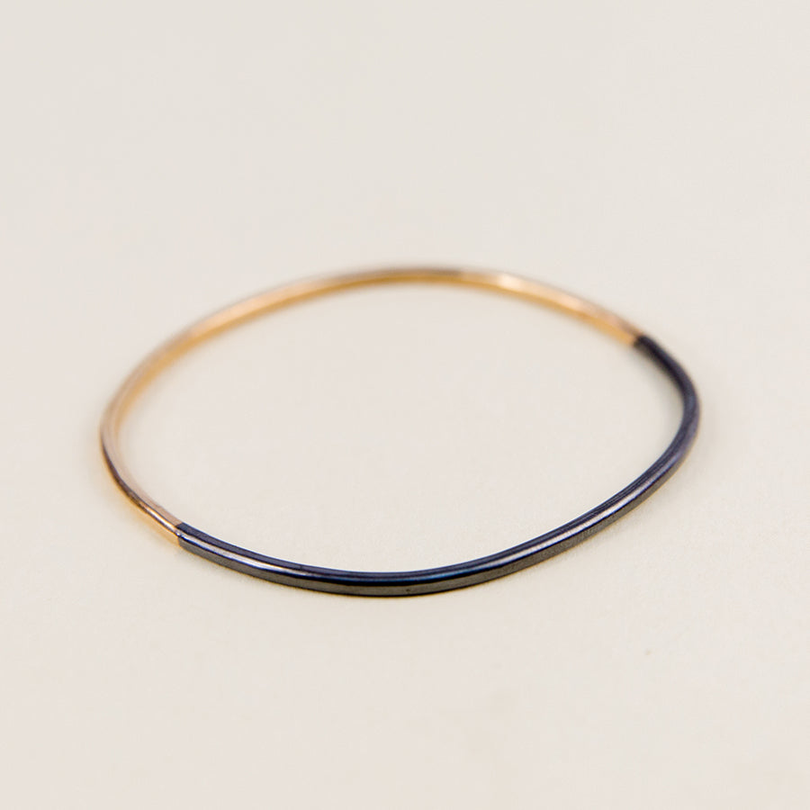 Thick Square Bangle Bracelet - Black and Yellow Gold