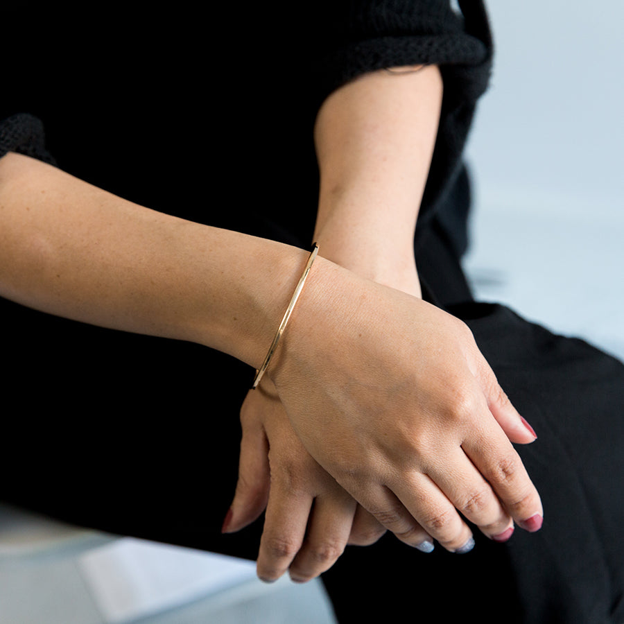 Thick Square Bangle Bracelet - Yellow Gold (on model)