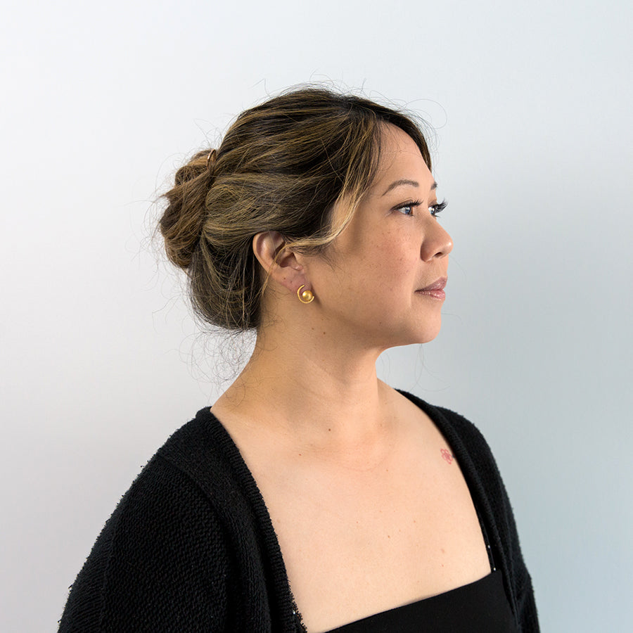 Dome Curve Post Earrings - Vermeil (on model)