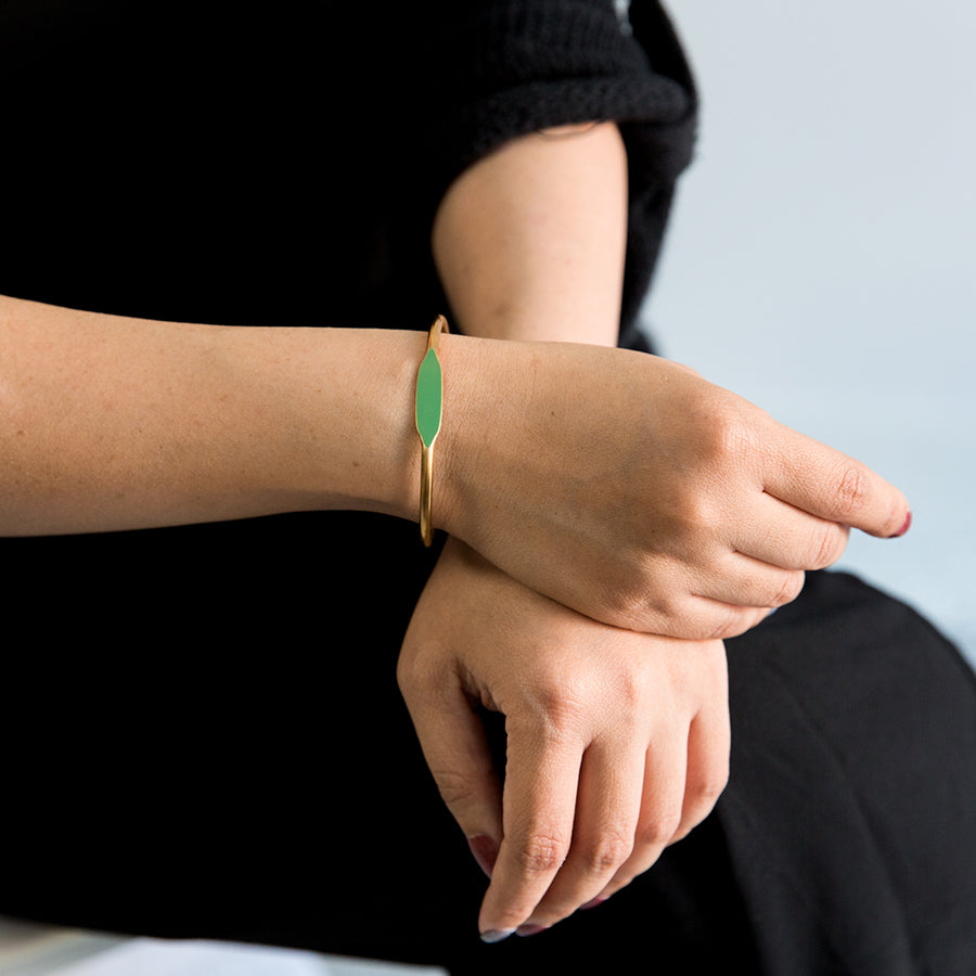 Brass Bracelet - Grass (on model)
