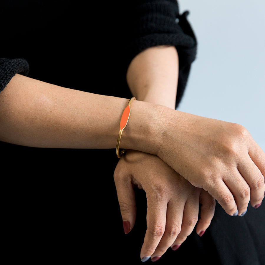 Brass Bracelet - Tangerine (on model)