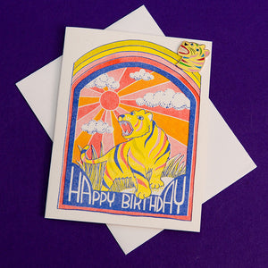 Rainbow Tiger Birthday Lapel Pin Card