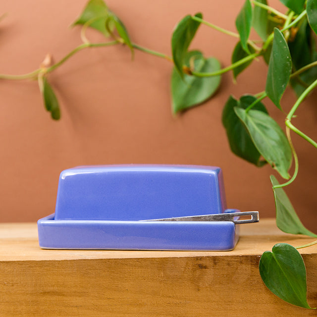 Butter Dish with Stainless Steel Knife - Blueberry