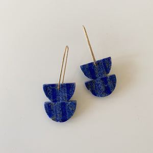 Double Stone Earrings - Lapis Lazuli