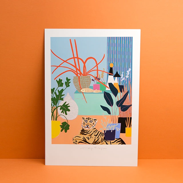 Spider Plant with Blue Box and Tiger Rug Print