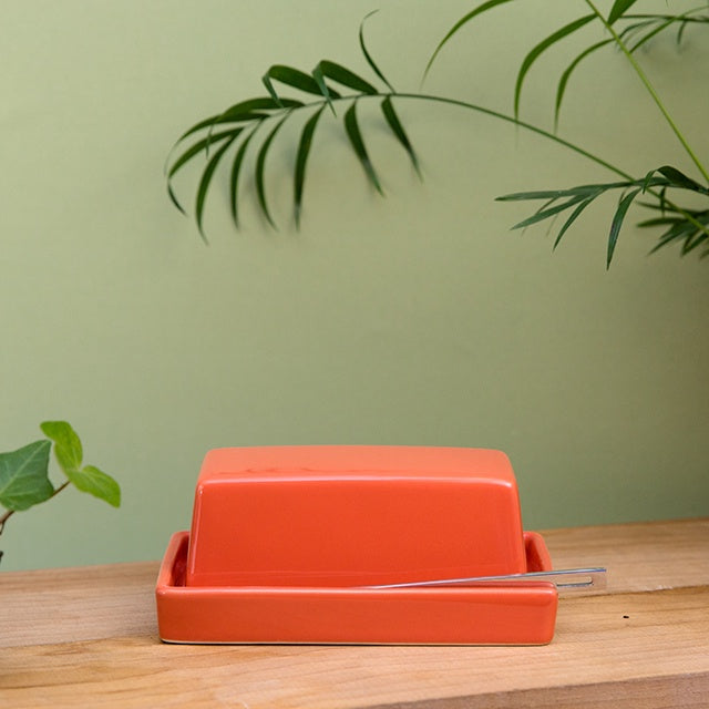 Butter Dish with Stainless Steel Knife - Carrot