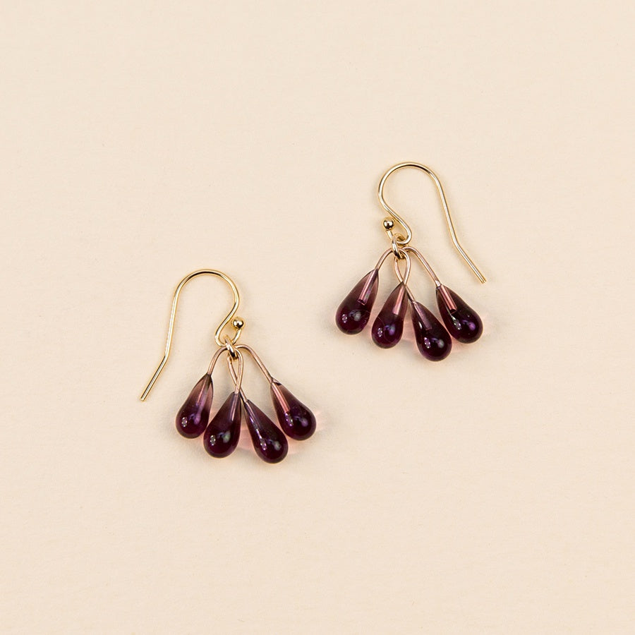 Small Lustre Earrings - Purple